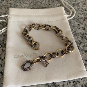 David Yurman 925 & 18K Gold Oval Link Bracelet